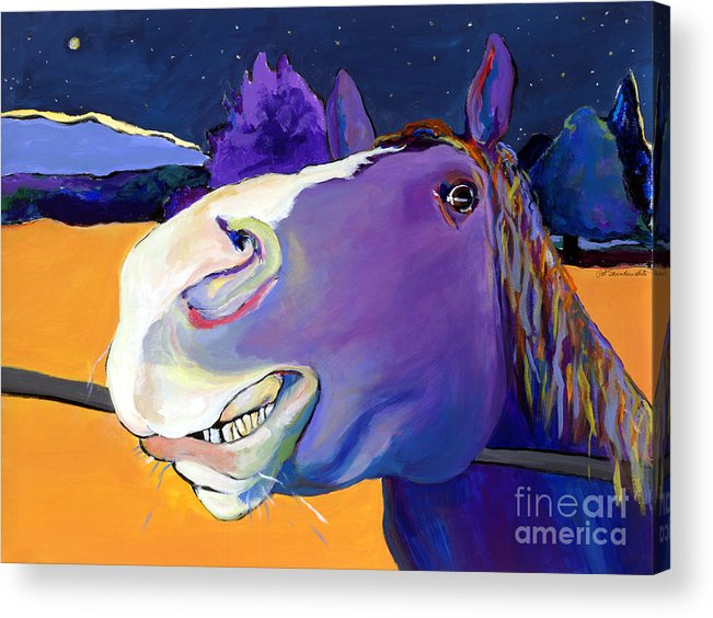 Barnyard Animal Acrylic Print featuring the painting Got Oats   by Pat Saunders-White