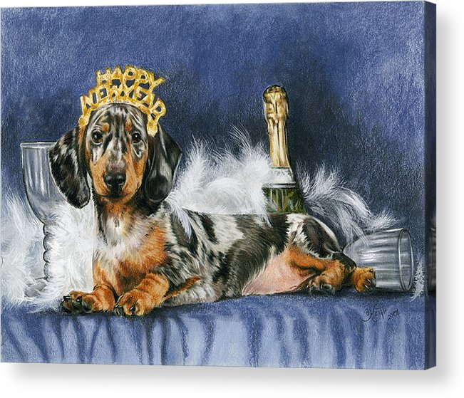 Dog Acrylic Print featuring the mixed media Happy New Year by Barbara Keith