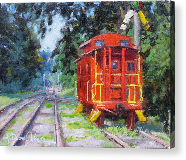 Railroading Acrylic Print featuring the painting Happy Rails by L Diane Johnson