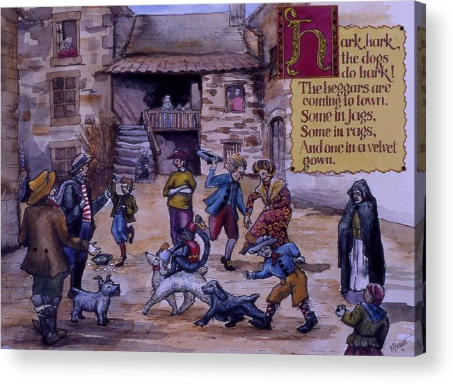 Nursery Rhyme Acrylic Print featuring the painting Hark Hark by Victoria Heryet
