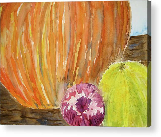 Pumpkin Acrylic Print featuring the painting Harvest Still Life by Beverley Harper Tinsley