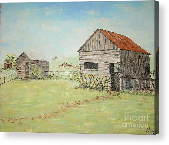 2 Small Sheds; Light Green Yard; Old Buildings Acrylic Print featuring the painting Homeplace - The Smokehouse and Woodhouse by Judith Espinoza