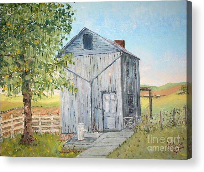 Old Gray Building Beside Green Tree; 2 Kinds Of Fence Acrylic Print featuring the painting Homeplace - The Washhouse by Judith Espinoza