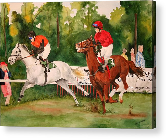 Racing Acrylic Print featuring the painting Homestretch by Jean Blackmer