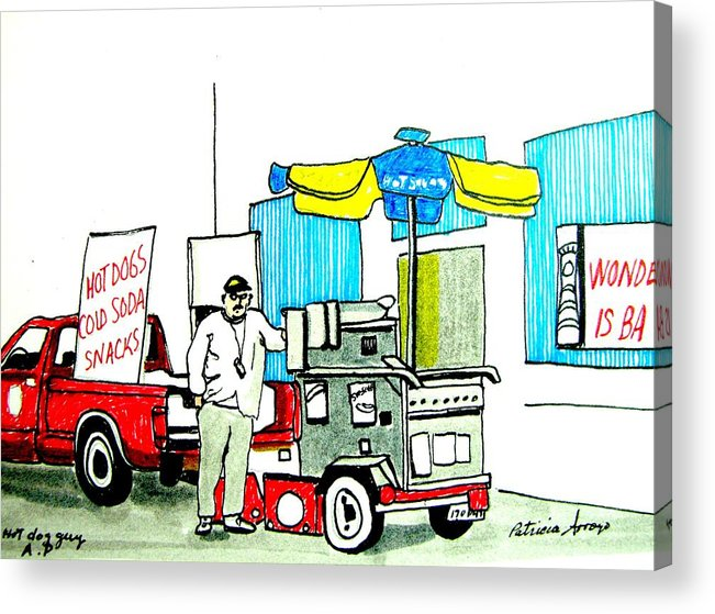 Asbury Art Acrylic Print featuring the drawing Hot Dog Guy of Asbury Park by Patricia Arroyo