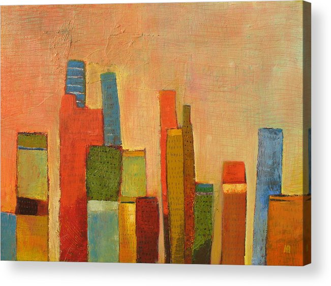 Abstract Cityscape Acrylic Print featuring the painting Hot Manhattan by Habib Ayat
