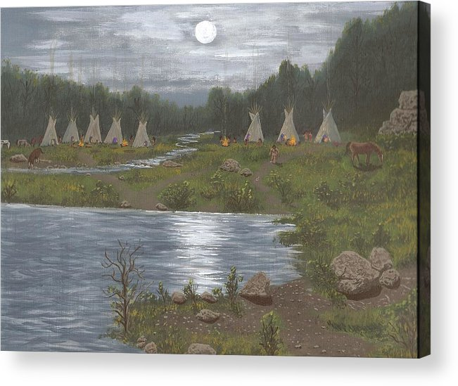 Indians Acrylic Print featuring the painting Indian Camp by Don Lindemann