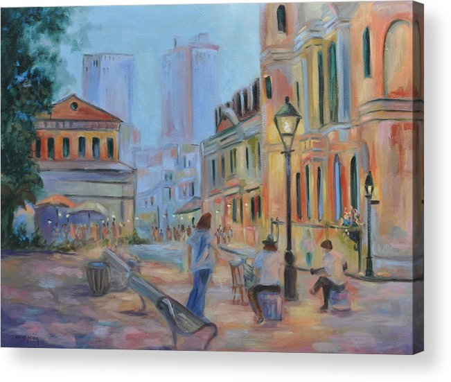 New Orleans Acrylic Print featuring the painting Jackson Square Musicians by Ginger Concepcion