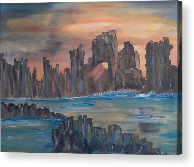 Abstract/landscape Acrylic Print featuring the painting Jagged Beauty by Mikki Alhart