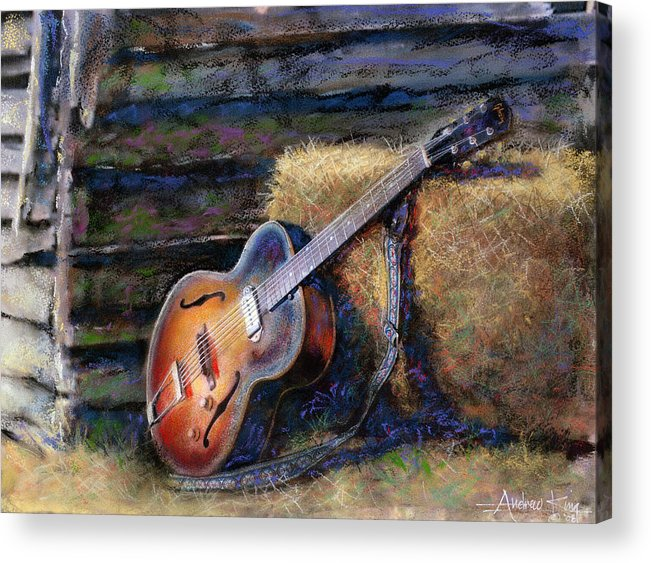 Watercolor Acrylic Print featuring the painting Jim's Guitar by Andrew King