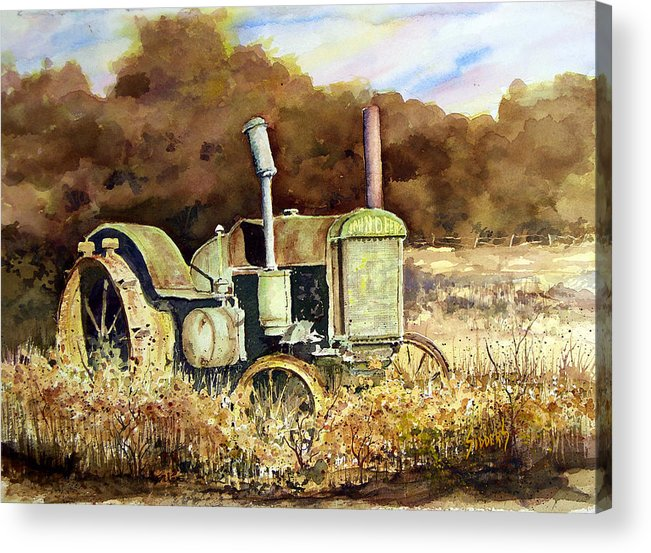 Tractor Acrylic Print featuring the painting Johnny Popper by Sam Sidders