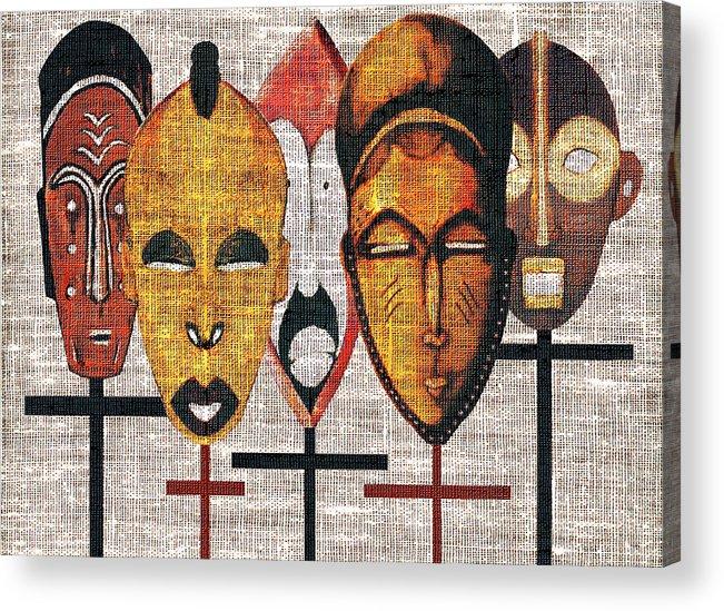 African Masks Acrylic Print featuring the digital art Kabila Masks by Regina Wyatt
