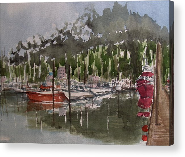 Marina Acrylic Print featuring the painting Ketchican Marina by Pete Maier