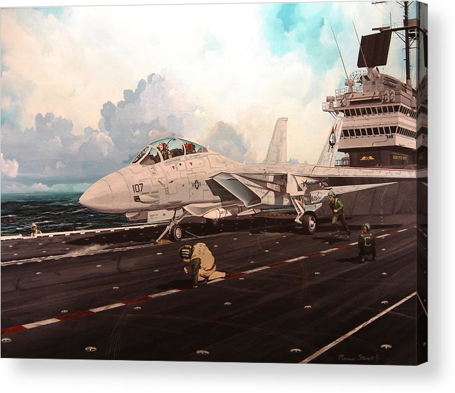 Military Acrylic Print featuring the painting Launch The Alert 5 by Marc Stewart