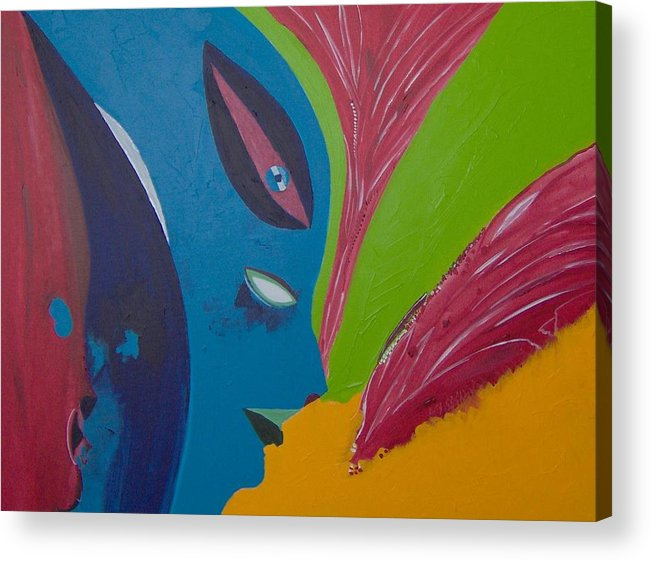 Red Acrylic Print featuring the painting Laune des Fauns by Michael Puya