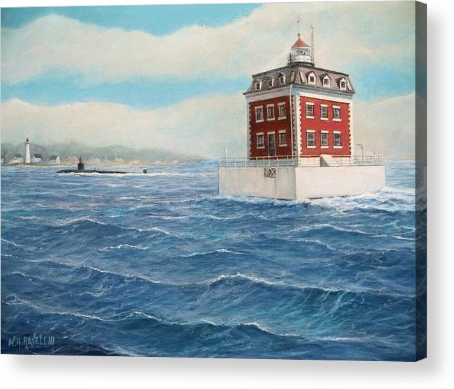 Lighthouse Acrylic Print featuring the painting Ledge Lighthouse and submarine by William Ravell