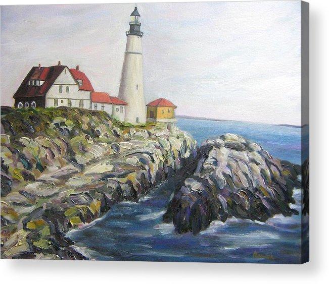 Portland Acrylic Print featuring the painting Light house by Richard Nowak