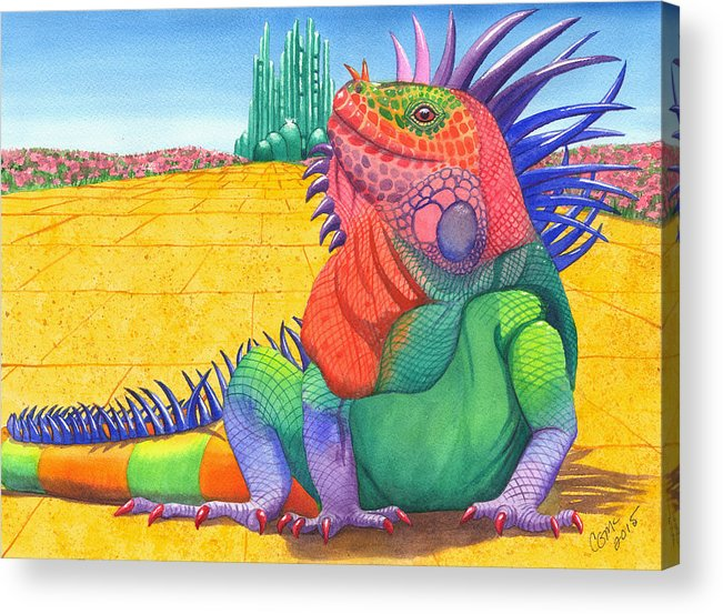Lizard Acrylic Print featuring the painting Lizard of OZ by Catherine G McElroy