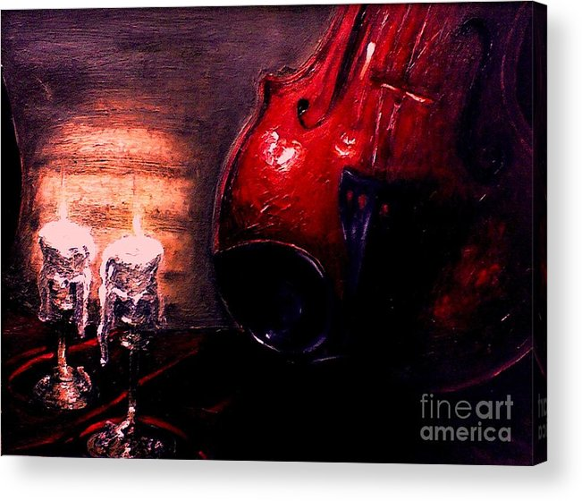 Love Acrylic Print featuring the painting Love for music by Patricia Awapara