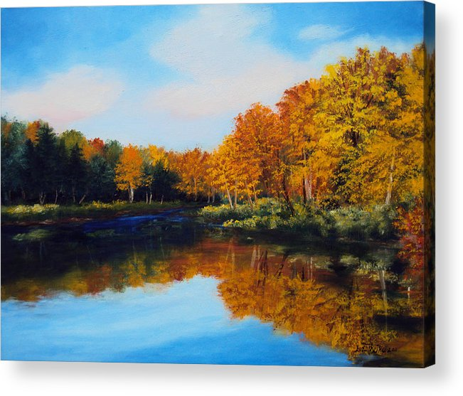 River Acrylic Print featuring the painting Mattawamkeag River in Autumn by Laura Tasheiko