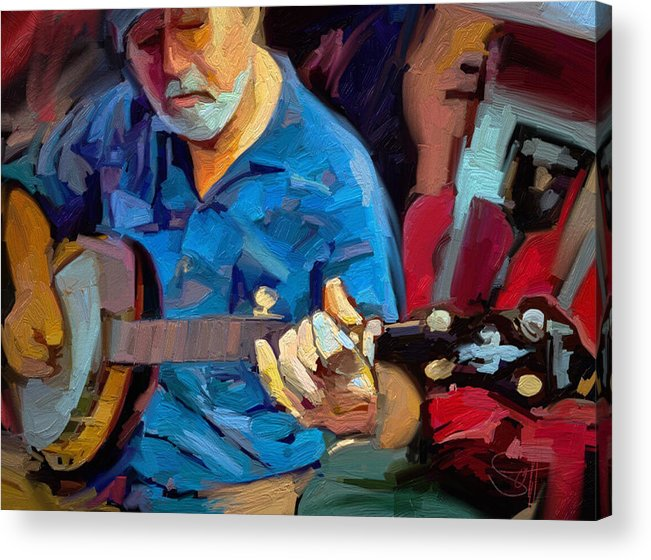 Mike Banjo Music Musician Art Scott Waters Acrylic Print featuring the digital art Michael by Scott Waters