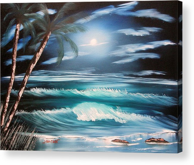 Seascape Acrylic Print featuring the painting Midnight Ocean by Sheldon Morgan