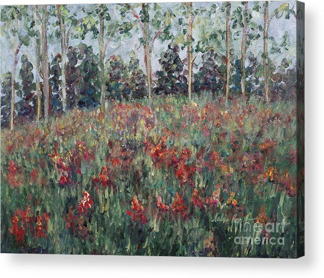 Landscape Acrylic Print featuring the painting Minnesota Wildflowers by Nadine Rippelmeyer