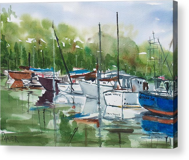 Marina Acrylic Print featuring the painting Misty Marina by Pete Maier