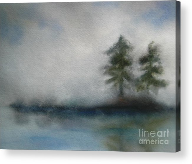 Landscape Acrylic Print featuring the painting Misty Waters by Vi Mosley