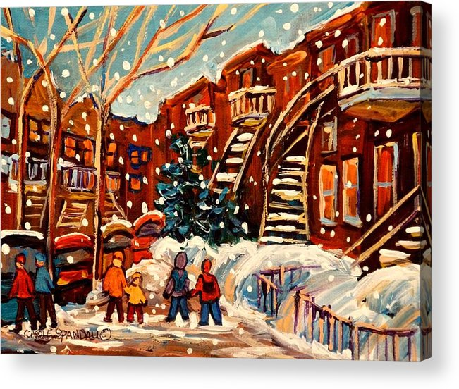Montreal Acrylic Print featuring the painting Montreal Street In Winter by Carole Spandau