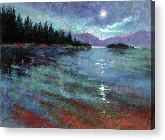 Murals Acrylic Print featuring the painting Moon Over Pend Orielle by Betty Jean Billups
