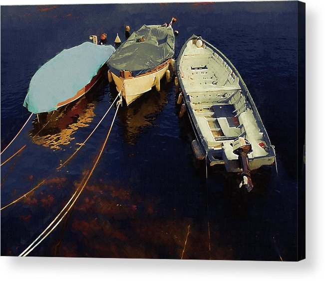 Boat Acrylic Print featuring the photograph Moored Boats by Robert Bissett