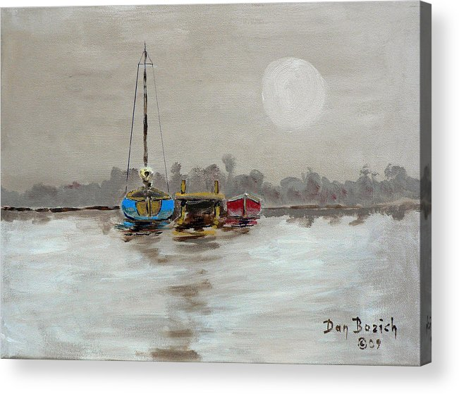 Foggy Morning Acrylic Print featuring the painting Morning Boats by Dan Bozich