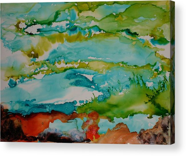 Wave Acrylic Print featuring the mixed media Mother Ocean by Susan Kubes