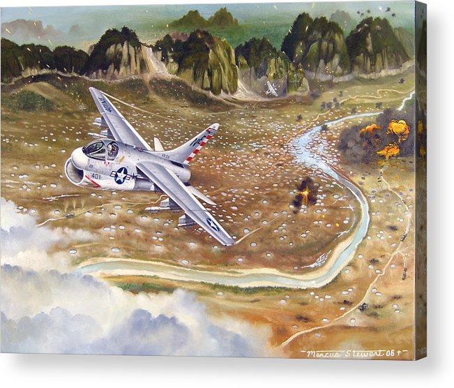 Aviation Acrylic Print featuring the painting Mu Gia Mayhem by Marc Stewart