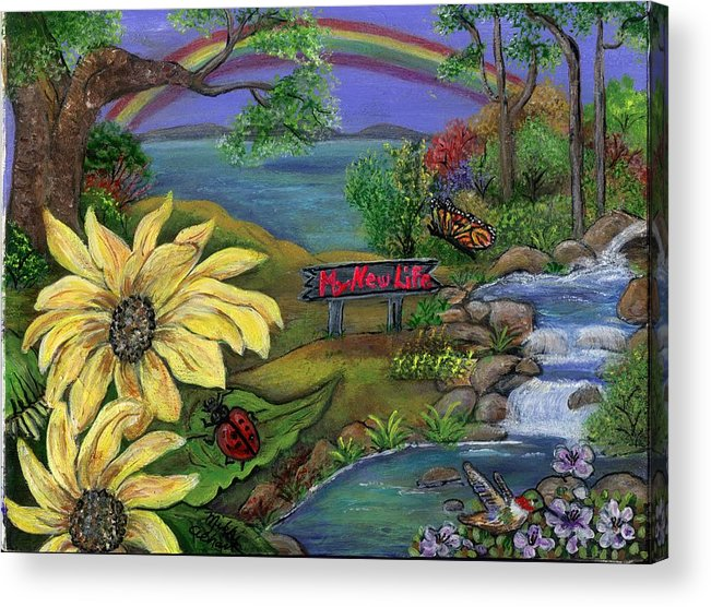 Sunflower Acrylic Print featuring the painting My New Life by Mikki Alhart