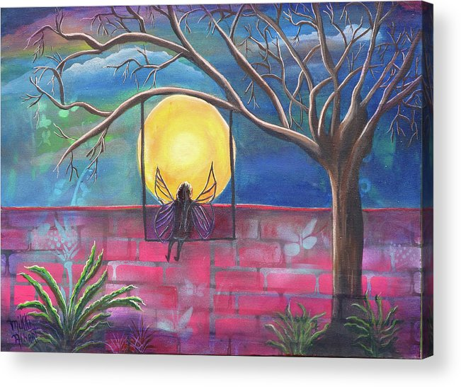 Tranquil Acrylic Print featuring the painting Nighttime Escape by Mikki Alhart