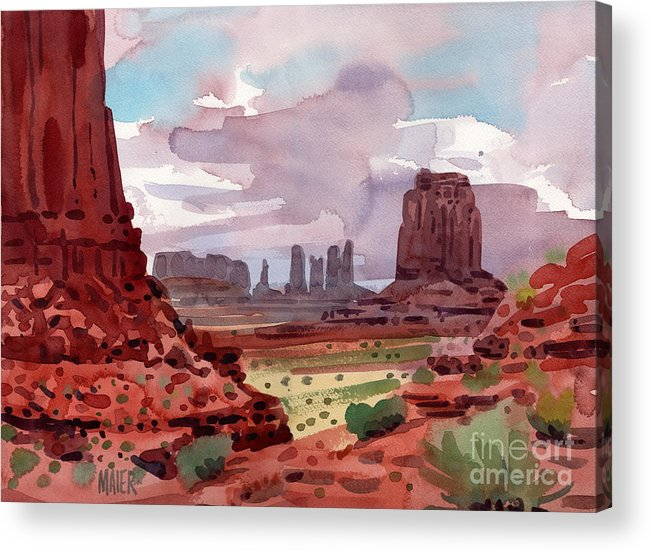 Monument Valley Acrylic Print featuring the painting North Window View by Donald Maier
