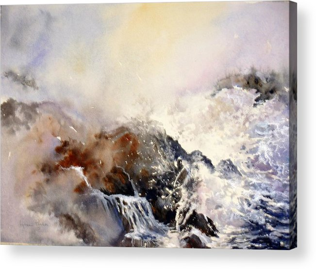 Seascape Acrylic Print featuring the painting Ocean Rage by Lynne Parker