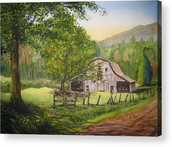 Barn Acrylic Print featuring the painting Old Apple Tree by Shirley Braithwaite Hunt