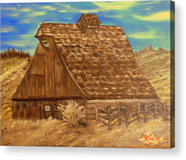 Landscape Acrylic Print featuring the painting Old Barn Series by Kenneth LePoidevin