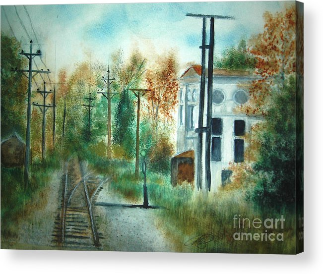 Landscape Acrylic Print featuring the painting Old CN Station Fort Langley BC by Vi Mosley