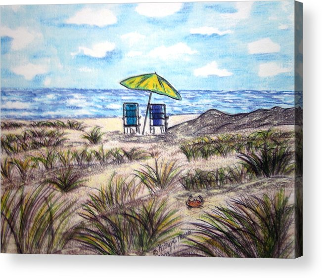 Beach Acrylic Print featuring the painting On The Beach by Kathy Marrs Chandler