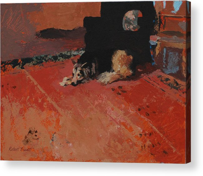 Dog Acrylic Print featuring the painting On the Carpet by Robert Bissett