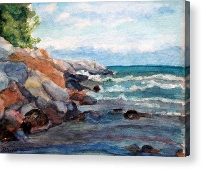 Seascape Acrylic Print featuring the painting On the Rocks by Stephanie Allison