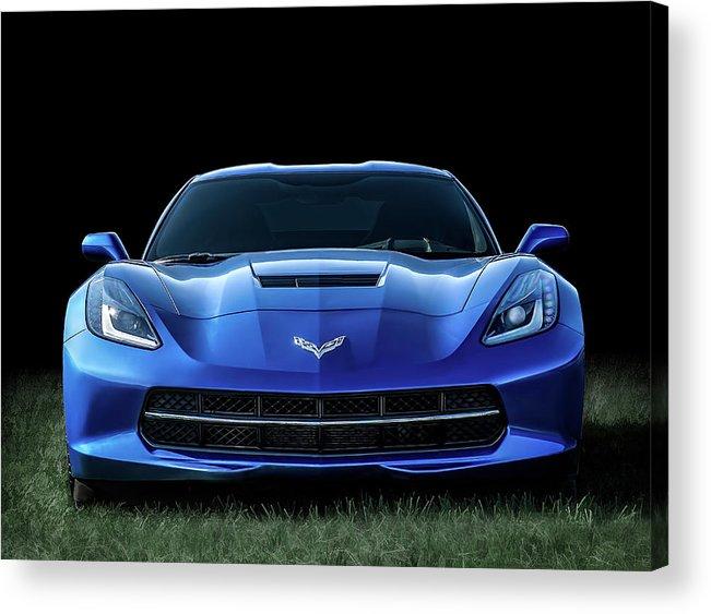 Corvette Acrylic Print featuring the digital art Blue 2013 Corvette by Douglas Pittman