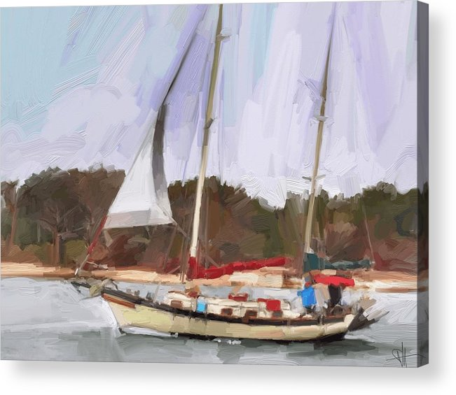 Florida Sailboat Art Acrylic Print featuring the digital art Outbound by Scott Waters