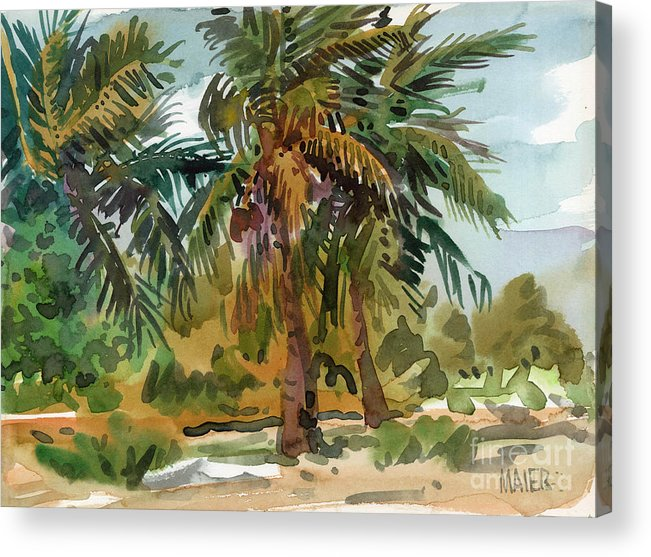 Palm Tree Acrylic Print featuring the painting Palms in Key West by Donald Maier
