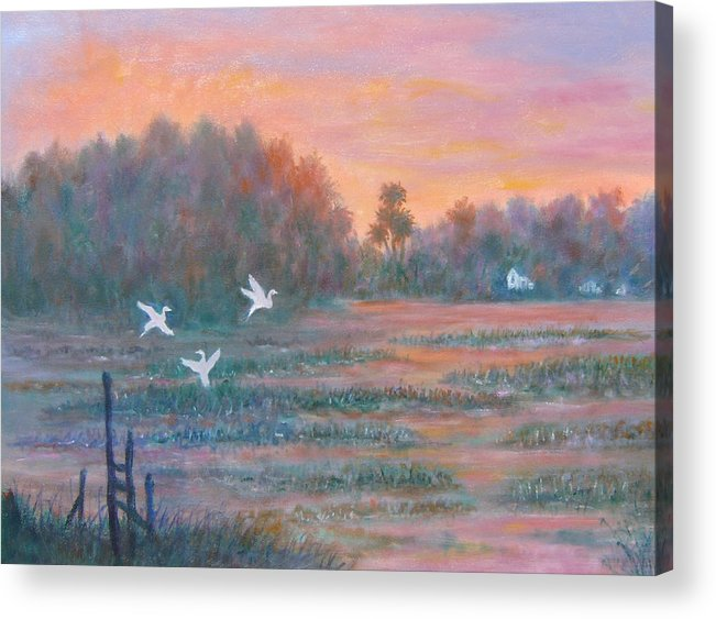 Low Country; Egrets; Sunset Acrylic Print featuring the painting Pawleys Island by Ben Kiger