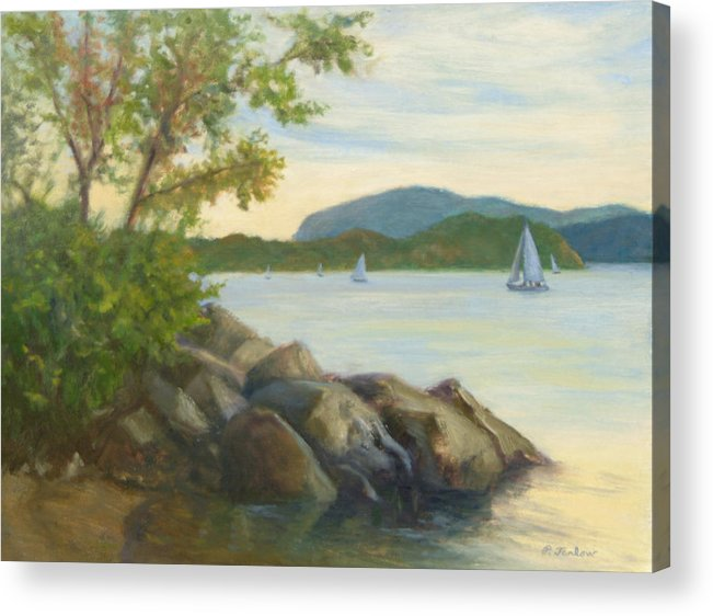 Landscape Painting Acrylic Print featuring the painting Perfect Day for a Sail by Phyllis Tarlow